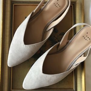 A New Day V-Throat Sling Back Mules in Tan NWOT